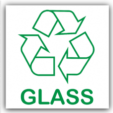 1 x Glass Recycling Bin Adhesive Sticker-Recycle Logo Sign-Environment Label